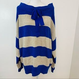 Free People Womans Sweater  XL Blue White Stripe  Oversized  Off the Shoulder